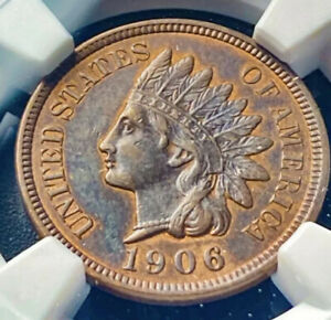 1906 INDIAN HEAD CENT 1C HIGH GRADE NGC AU 53 BN UNIQUE TONING TYPE COIN