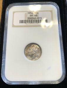 1954 ROOSEVELT SILVER DIME 10C PROOF PF68 OLD NGC FATTY HOLDER RAINBOW TONING