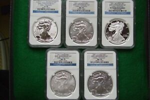 2011  25TH ANNIVERSARY SET FIVE COINS MS/PF 70'S EARLY RELEASES SILVER EAGLE