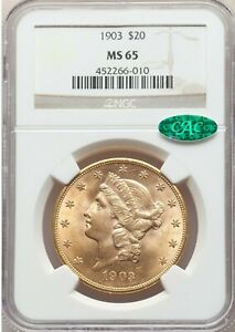 1903 $20 GOLD LIBERTY MS  65 CAC NGC ORIGINAL A  BOMB & FLASHY CAC  GEM WOW
