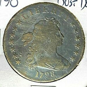 1798 WIDE DATE POINTED 9 DRAPED BUST DOLLAR B 11 VG DETAIL