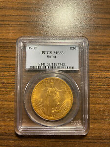 1907 P $20 GOLD SAINT GAUDENS DOUBLE EAGLE PCGS MS 63 TWENTY DOLLAR GOLD