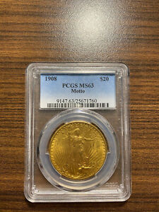 1908 P $20 GOLD SAINT GAUDENS DOUBLE EAGLE PCGS MS 63 TWENTY DOLLAR GOLD W/MOTTO