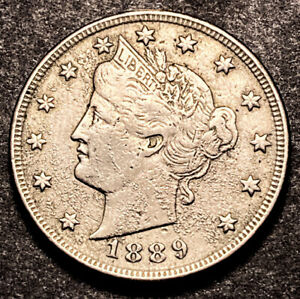 1889 LIBERTY V NICKEL 5C SEMI KEY DATE HIGH GRADE AU DETAILS OBSOLETE TYPE COIN