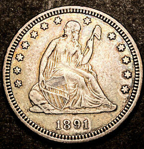 1891 SEATED LIBERTY SILVER QUARTER 25C HIGH GRADE DETAILS US TYPE COIN