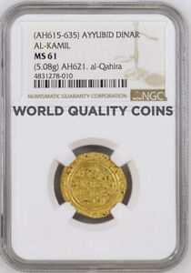 Click now to see the BUY IT NOW Price! EGYPT AH621 GOLD DINAR AYYUBID AL KAMIL MUHAMMAD I ALEXANDRIA NGC MS61