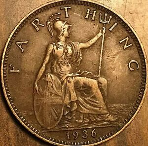 1936 UK GB GREAT BRITAIN FARTHING COIN