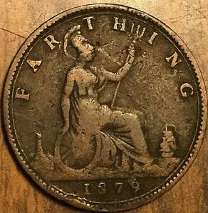 1879 UK GB GREAT BRITAIN FARTHING COIN