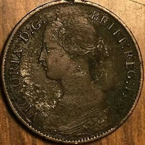 1865 UK GB GREAT BRITAIN FARTHING COIN