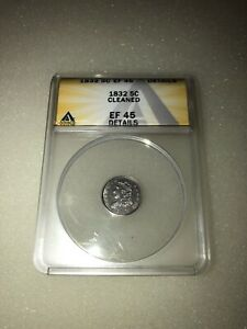 1832 CAPPED BUST SILVER HALF DIME 5C ANACS EF 45 DETAILS CLEANED