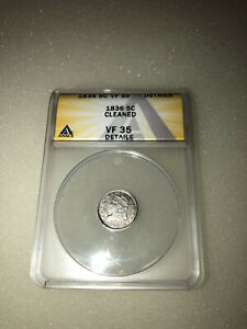 1836 CAPPED BUST SILVER HALF DIME 5C ANACS VF 35 DETAILS CLEANED