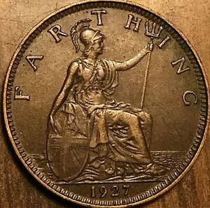 1927 UK GB GREAT BRITAIN FARTHING COIN