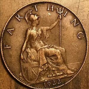 1922 UK GB GREAT BRITAIN FARTHING COIN