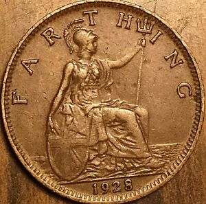 1928 UK GB GREAT BRITAIN FARTHING COIN