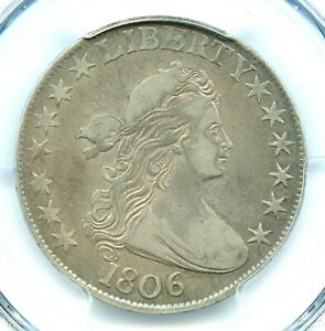 1806 POINTED 6 NO STEM DRAPED BUST HALF DOLLAR PCGS VF20