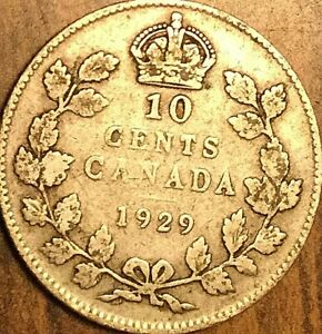 1929 CANADA SILVER 10 CENTS COIN DIME
