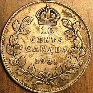 1931 CANADA SILVER 10 CENTS COIN DIME