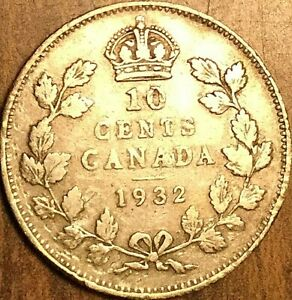 1932 CANADA SILVER 10 CENTS COIN DIME