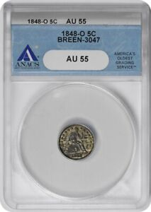 Click now to see the BUY IT NOW Price! 1848 O LIBERTY SEATED SILVER HALF DIME AU55 ANACS