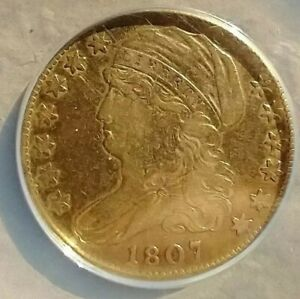 1807 U.S. $5 CAPPED BUST HALF EAGLE GOLD COIN