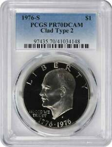 Click now to see the BUY IT NOW Price! 1976 S TYPE 2 CLAD EISENHOWER IKE DOLLAR PR70DCAM PCGS PROOF 70 DEEP CAMEO