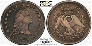 1795 FLOWING HAIR $1 DOLLAR  2 LEAVES VARIETY PCGS VF30 PERFECT FOR TYPE