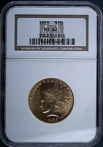 NGC CERTIFIED 1926 MS62 GOLD INDIAN HEAD EAGLE $10