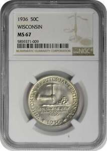 WISCONSIN COMMEMORATIVE SILVER HALF DOLLAR 1936 MS67 NGC