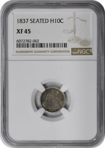 1837 LIBERTY SEATED SILVER HALF DIME NO STARS LARGE DATE EF45 NGC