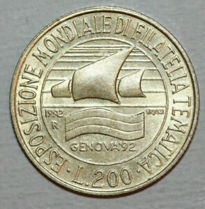 ITALY   1992 R   200 LIRE   STYLIZED SAILING SHIP GENOA   24MM FOREIGN COIN