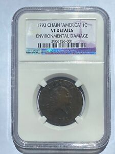 1793 CHAIN AMERICA 1C LARGE CENT NGC CERTIFIED VF DETAILS
