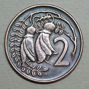 NEW ZELAND 1973   2  CENT KOWHAI LEAF  21.1MM FOREIGN COIN
