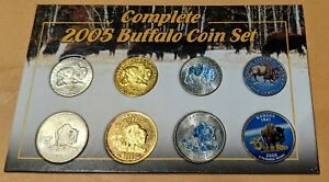 2005 BUFFALO SET NICKLE QUARTER COLORED GOLD PLATED LEWIS AND CLARK KANSAS STATE