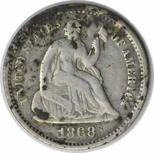 1868 S LIBERTY SEATED SILVER HALF DIME F UNCERTIFIED