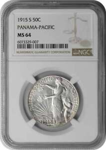 PANAMA PACIFIC COMMEMORATIVE SILVER HALF DOLLAR 1915 S MS64 NGC
