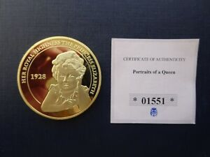BX4 GB PORTRAITS OF A QUEEN PROOF LIMITED ISSUE 24CT GOLD PLATED COIN AND COA