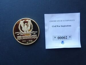 BX4 AMERICAN CIVIL WAR 24CT PLATED PROOF COIN ROBERT E LEE WITH COA