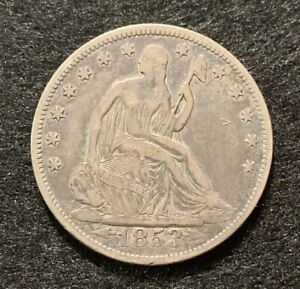1853 SEATED LIBERTY W/ ARROWS & RAYS SILVER HALF DOLLAR COIN 50C