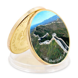 THE GREAT WALLCHINA SEVEN WONDERS OF WORLD  COMMEMORATIVE GOLD PLATED  COIN