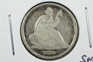 1838 O NO STARS SEATED LIBERTY DIME VG W/SMALL DIGS ON REVERSE