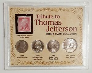 TRIBUTE TO THOMAS JEFFERSON COIN & STAMP COLLECTION 4 COINS 1 STAMP