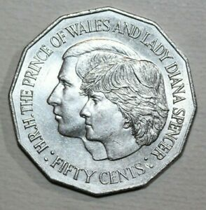 AUSTRALIA 1981  50 CENTS    PRINCE CHARLES AND LADY DIANA   31.5MM FOREIGN COIN