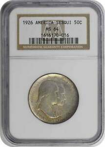 SESQUICENTENNIAL COMMEMORATIVE SILVER HALF DOLLAR 1926 MS64 NGC