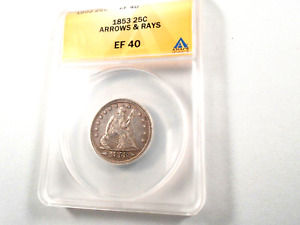 1853  SEATED LIBERTY QUARTER ARROWS & RAYS ANACS XF 40 PRESENTS WELL