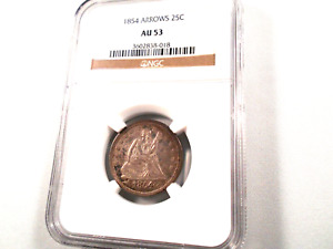 1854 SEATED LIBERTY QUARTER W/ ARROWS NGC AU 53  TOUGH  BETTER DATE