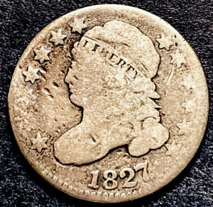1827 CAPPED BUST SILVER DIME 10C US TYPE COIN JR 13 VARIETY R 3 FULL LIBERTY