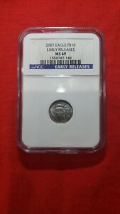 2007 EARLY RELEASE $10 PLATINUM EAGLE 1/10 OUNCE GRADED NGC MS69.