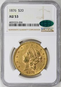1876 $20 GOLD LIBERTY AU 53 CAC NGC  ORIGINAL A BOMB &TYPE 2 TOUGH IN CAC