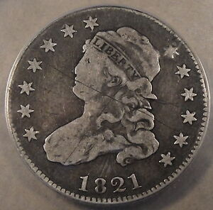 1821 CAPPED BUST QUARTER ANACS F 12 SCRATCHED