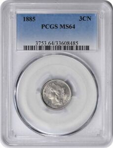 Click now to see the BUY IT NOW Price! 1885 THREE CENT NICKEL MS64 PCGS